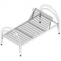 Кровать медицинская металлическая с подголовником КМ-1П