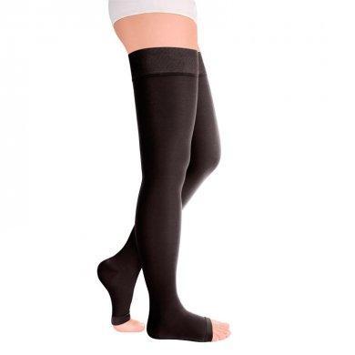 Чулки с открытым носком на широкое бедро 2кл. IDEALISTA ID-310W черный