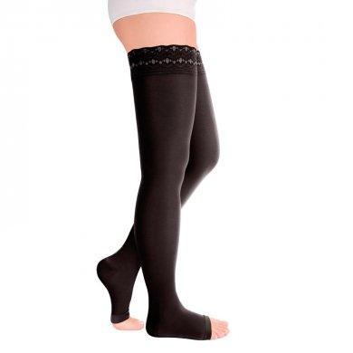 Чулки с ажурной резинкой с открытым носком 1кл. IDEALISTA ID-311