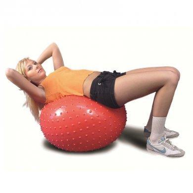 Мяч для фитнеса с шипами в коробке с насосом L 0565b красный, 65см