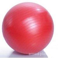 L 0765b Мяч гимнастический для фитнеса с АВС 65см в коробке с насосом(красный)