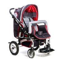 Кресло-коляска для детей Junior (Вариант Б - Бачусь) красно-серая (пневмо колеса)